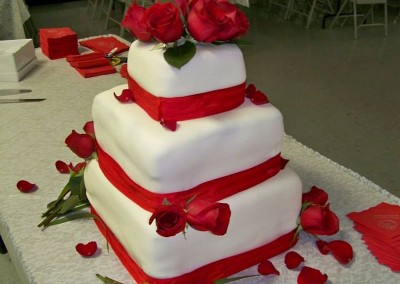 3 Layer Square Wedding Cake with Fresh Roses