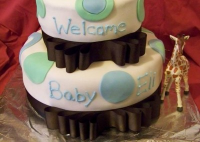 Baby Shower Cake with Ribbon border