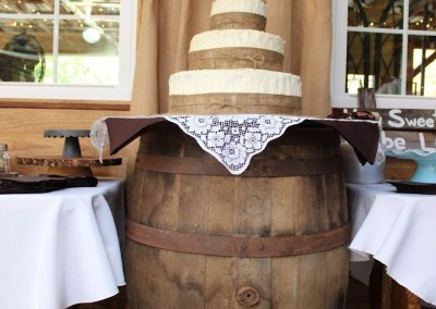 Cake on Wine Barrel Display