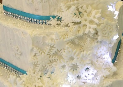 Closeup of snowflakes on cake